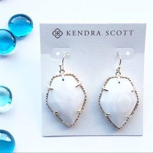 """Kendra Scott White/Gold """"Corley"""" Drop Earrings"""